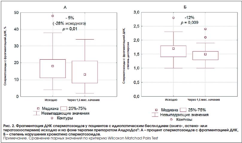 Рис. 2. Фрагментация ДНК сперматозоидов у пациентов с идиопатическим бесплодием (олиго-, астено- или тератозооспермия) исходно и на фоне терапии препаратом АндроДоз®: А – процент сперматозоидов с фрагментацией ДНК, Б – степень нарушения хроматина сперматозоидов.