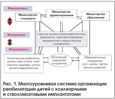 Рис. 1. Многоуровневая система организации реабилитации детей с кохлеарными и стволомозговыми имплантатами