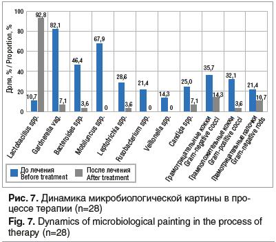 Рис. 7. Динамика микробиологической картины в процессе терапии (n=28)
