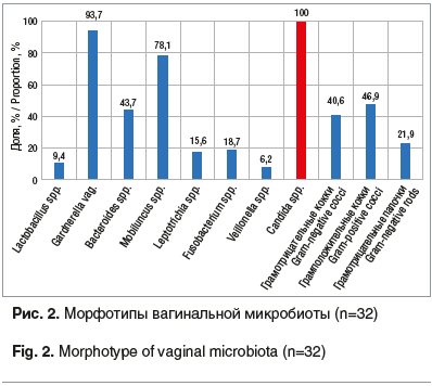 Рис. 2. Морфотипы вагинальной микробиоты (n=32)