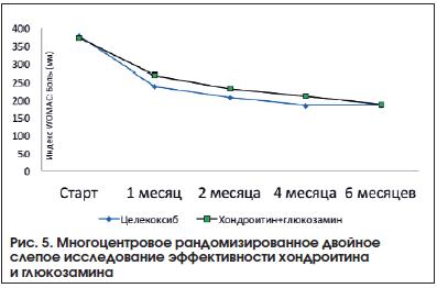 Рис. 5. Многоцентровое рандомизированное двойное слепое исследование эффективности хондроитина и глюкозамина