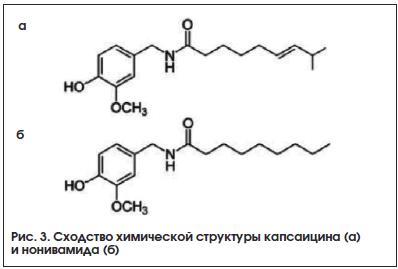 Рис. 3. Сходство химической структуры капсаицина (а) и нонивамида (б)