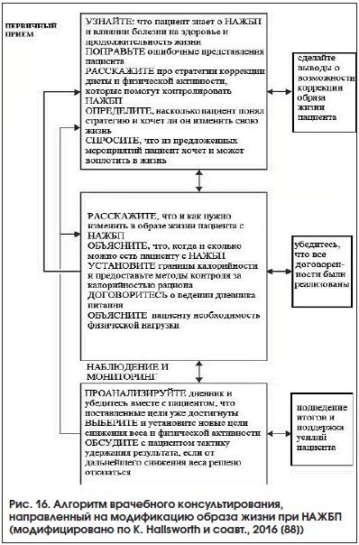 Рис. 16. Алгоритм врачебного консультирования, направленный на модификацию образа жизни при НАЖБП (модифицировано по K. Hallsworth и соавт., 2016 [88])