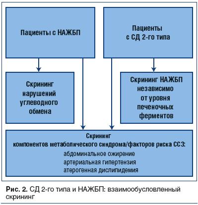 Рис. 2. СД 2-го типа и НАЖБП: взаимообусловленный скрининг