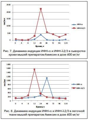 Амиксин – индукция интерферонов альфа, бета, гамма и лямбда в сыворотке крови и легочной ткани