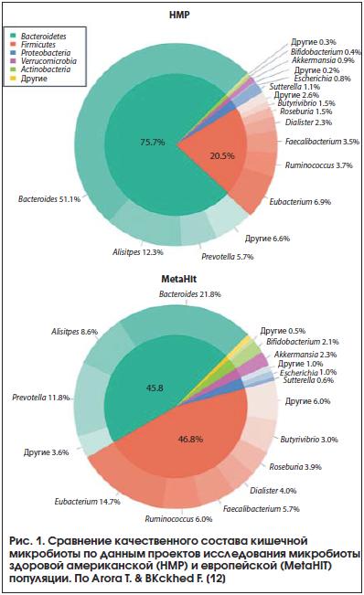 Рис. 1. Сравнение качественного состава кишечной микробиоты по данным проектов исследования микробиоты здоровой американской (HMP) и европейской (MetaHIT) популяции. По Arora T. & BКckhed F. [12]