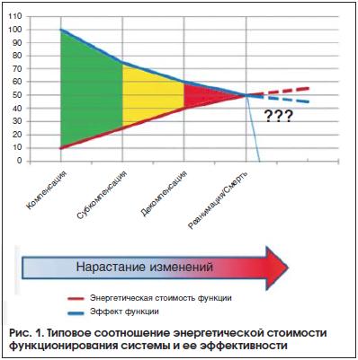 Рис. 1. Типовое соотношение энергетической стоимости функционирования системы и ее эффективности