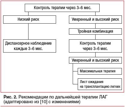 Рис. 2. Рекомендации по дальнейшей терапии ЛАГ (адаптировано из [10] с изменениями)
