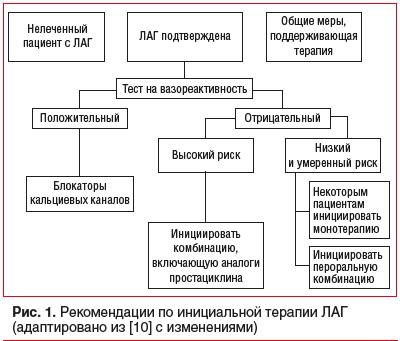 Рис. 1. Рекомендации по инициальной терапии ЛАГ (адаптировано из [10] с изменениями)
