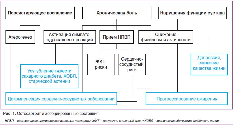 Рис. 1. Остеоартрит и ассоциированные состояния.