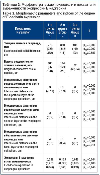 Таблица 2. Морфометрические показатели и показатели выраженности экспрессии Е-кадгерина Table 2. Morphometric parameters and indices of the degree of E-cadherin expression