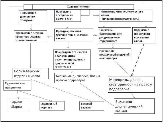 Рис. 1. Патогенез клинических вариантов постхолецистэктомического синдрома