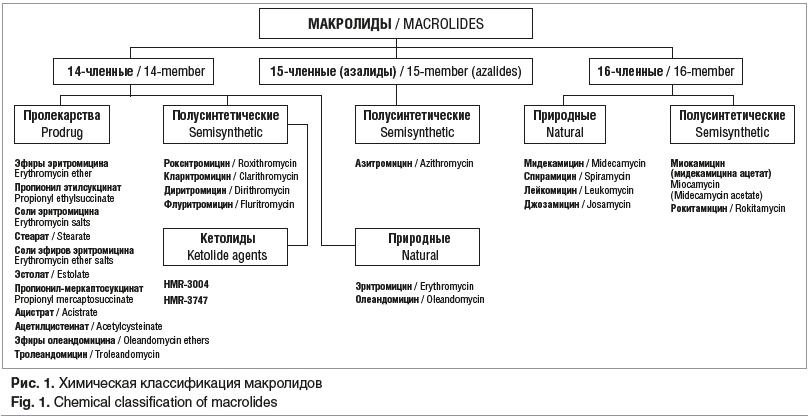 Рис. 1. Химическая классификация макролидов Fig. 1. Chemical classification of macrolides