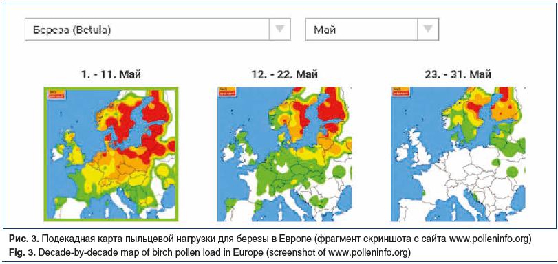 Рис. 3. Подекадная карта пыльцевой нагрузки для березы в Европе (фрагмент скриншота с сайта www.polleninfo.org) Fig. 3. Decade-by-decade map of birch pollen load in Europe (screenshot of www.polleninfo.org)