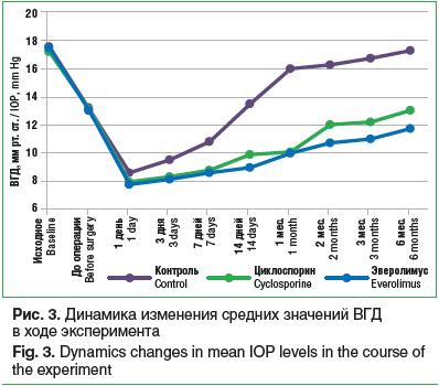 Рис. 3. Динамика изменения средних значений ВГД в ходе эксперимента Fig. 3. Dynamics changes in mean IOP levels in the course of the experiment