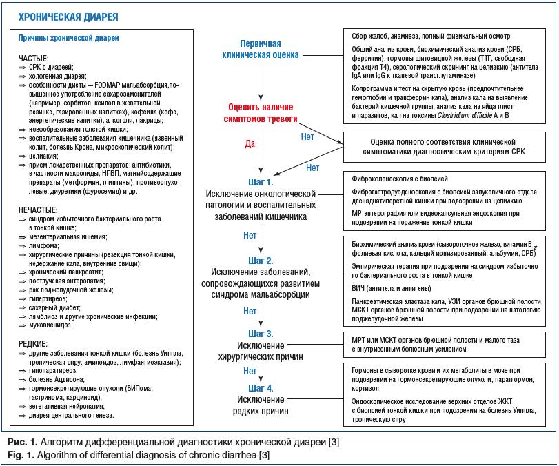 Рис. 1. Алгоритм дифференциальной диагностики хронической диареи [3] Fig. 1. Algorithm of differential diagnosis of chronic diarrhea [3]